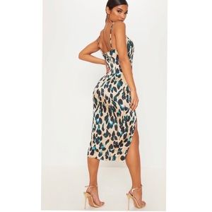 PrettyLittleThing Dresses - NWT Pretty Little Thing satin leopard print dress